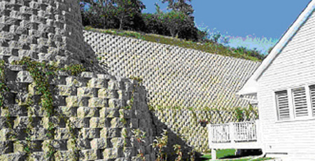 Retaining walls | Various appearance, reinforced with geosynthetics, built of local material.
